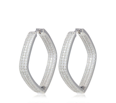 Mice Mone For Diamonique 3ct Tw Large Pave Hoop Earrings Sterling Silver Qvc Uk