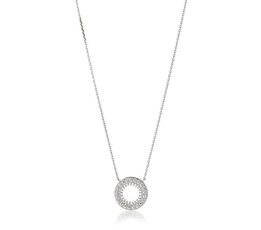 Diamonique 0.5ct tw Pave Circle Pendant & Chain Sterling Silver