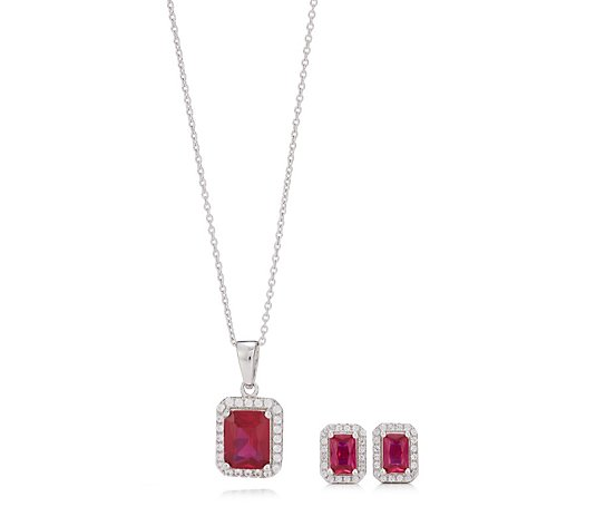 4.32ct-4.82ct Created Gemstone Octogon Halo Stud Earrings & 45cm Necklace