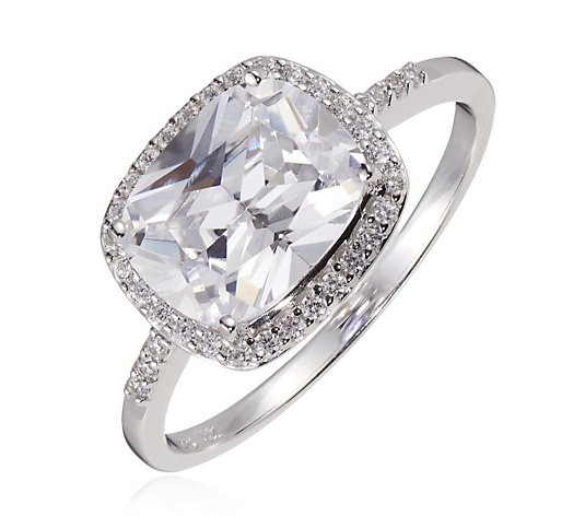 Diamonique 4.1ct tw East West Ring Sterling Silver