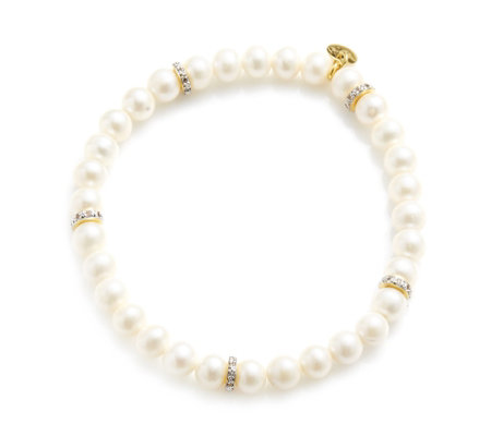 K by Kelly Hoppen Cultured Pearl White Topaz Stretch Bracelet Sterling Silver