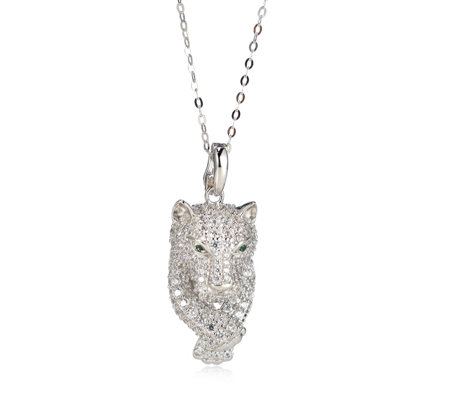 Diamonique by Tova 3ct tw Panther Head Pendant & Chain Sterling Silver