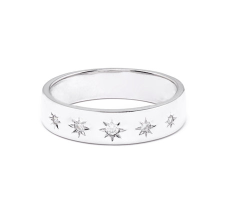 Diamonique 0.06ct tw Star Burst Band Ring Sterling Silver