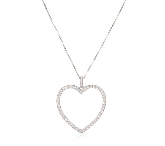 Diamonique 2ct tw Open Heart Pendant & Chain Sterling Silver