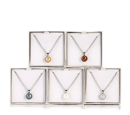 Honora 9-10mm Cultured Pearl Set of 5 Pendants 45cm Chain with Gift Box