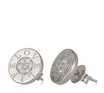 Diamonique 0.1ct tw Message Stud Earrings Sterling Silver - 330950