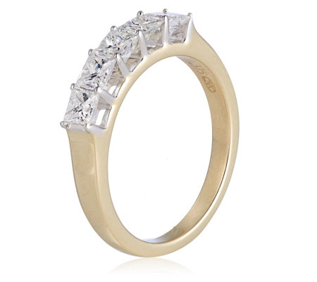 1.00ct Princess Cut Diamond 5 Stone Ring 9ct Gold