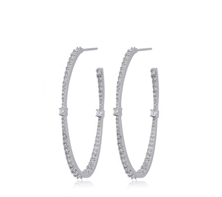 Diamonique 2ct tw Hoop Earrings Sterling Silver