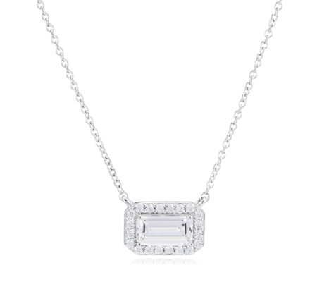 Diamonique 2.13ct tw Octagon Cut East West Pendant & Chain Sterling Silver
