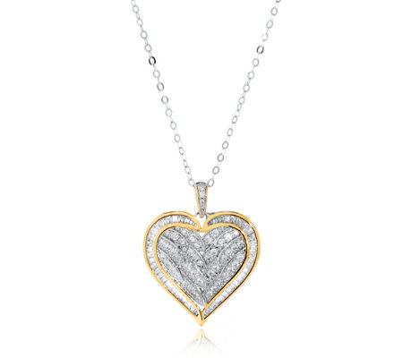 Diamonique 1ct tw Baguette Heart Pendant & 45cm Chain Sterling Silver