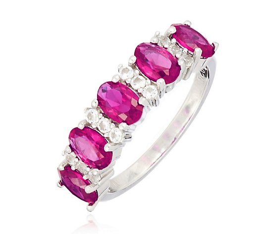 3.23ct-3.85ct Created Gemstone 5 Stone Oval Band Ring Sterling Silver