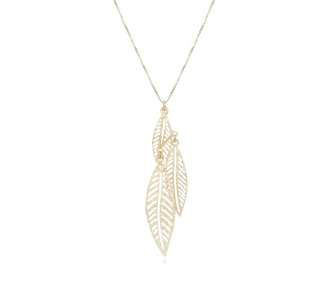 9ct Gold Diamond Cut Triple Leaf Pendant & 45cm Chain