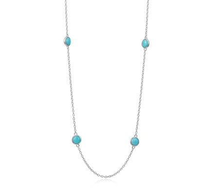 Sleeping Beauty Turquoise 50cm Station Necklace Sterling Silver