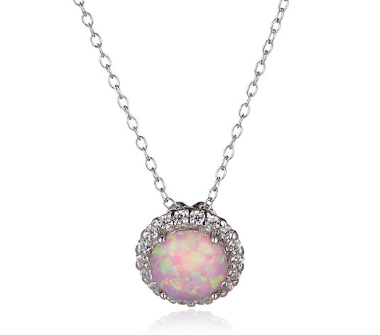 Diamonique 3ct tw Opal Pendant & Chain Sterling Silver