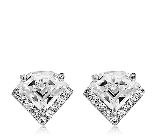 Diamonique 3.1ct tw Vintage Style Stud Earrings Sterling Silver