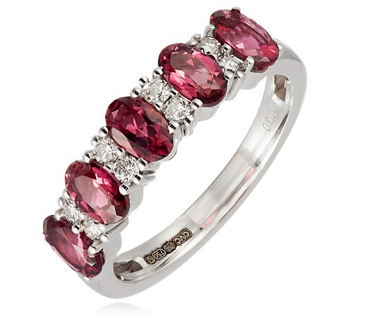 Outlet 0.90ct Rubellite & Diamond Eternity Ring 18ct Gold