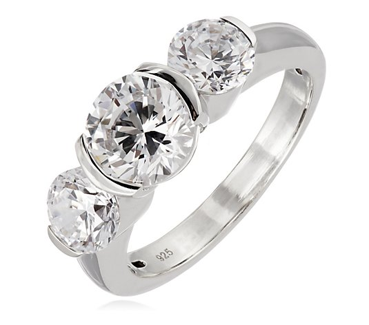 Diamonique 3.5ct tw Trilogy Ring Sterling Silver