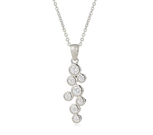 Diamonique 0.6ct tw Bezel Detail Pendant & 45cm Chain Sterling Silver