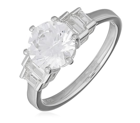 Diamonique 2ct tw Vintage Style Step Cut Ring Sterling Silver