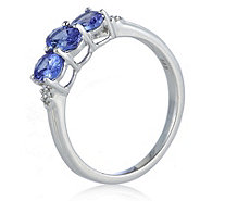 1ct AAA Tanzanite & Diamond Accent 3 Stone Ring 14ct Gold - 330852