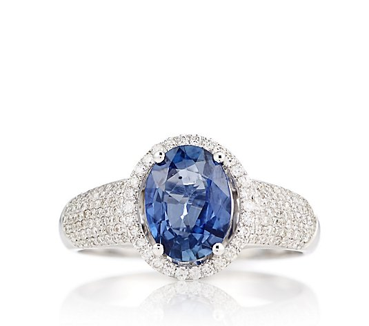 2.25ct Sapphire & 0.40ct Diamond Pave Ring 18ct Gold