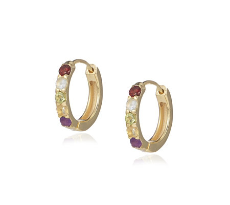 Lisa Snowdon Multi Gemstone Rainbow Huggie Earrings Gold Vermeil
