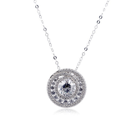 Michelle Mone for Diamonique 4.2ct tw Pendant & Chain Sterling Silver