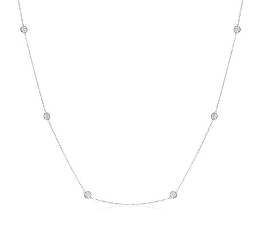 Escape by Melissa Odabash Pave Station 70cm Necklace Sterling Silver