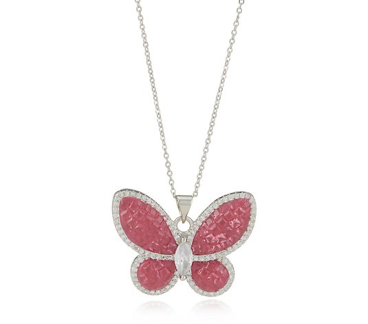 Butler & Wilson Crystal Butterfly Pendant Necklace
