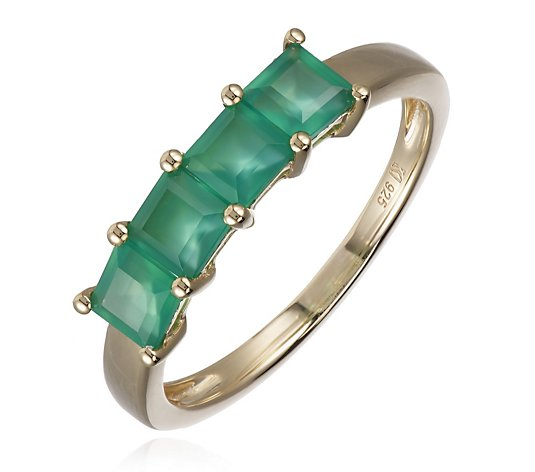 K by Kelly Hoppen Emerald Chalcendony 4 Stone Ring Sterling Silver