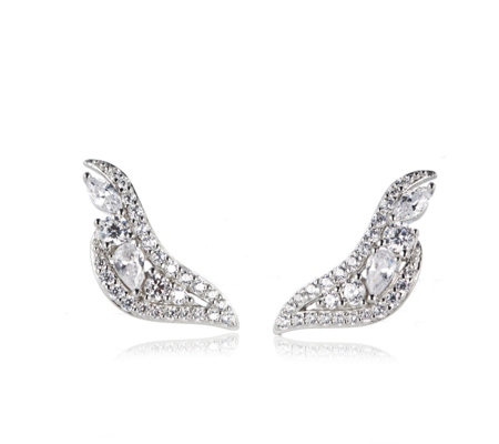 Diamonique 1.6ct tw Multi Cut Earclimbers Sterling Silver