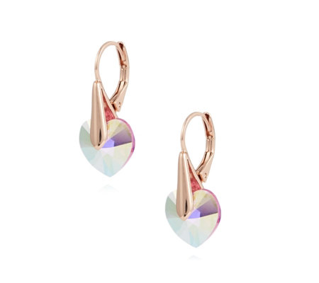Aurora Swarovski Crystal Heart Leverback Earrings