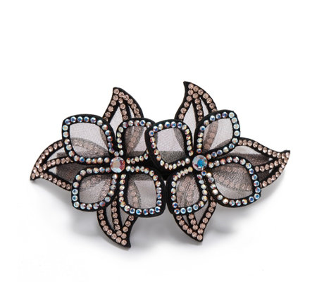 Butler & Wilson Two Crystal Flowers Hairclip