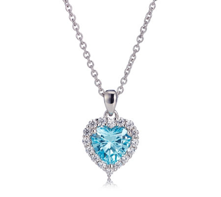Diamonique 2.4ct tw Heart Pendant & 45cm Chain Sterling Silver