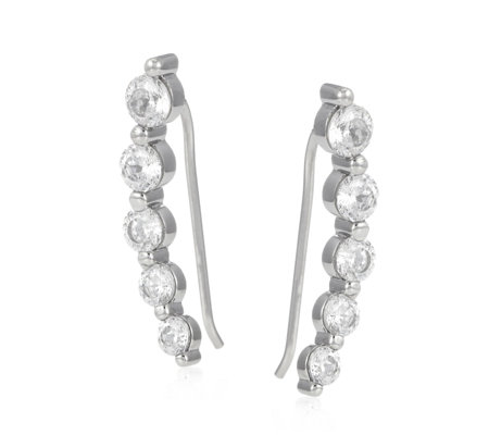 Diamonique 2.1ct tw 5 Stone 100 Facet Earclimbers Sterling Silver