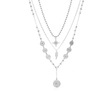 Kate Thornton for Bibi Bijoux 3 Row Long Layer Charm Necklace - 343453