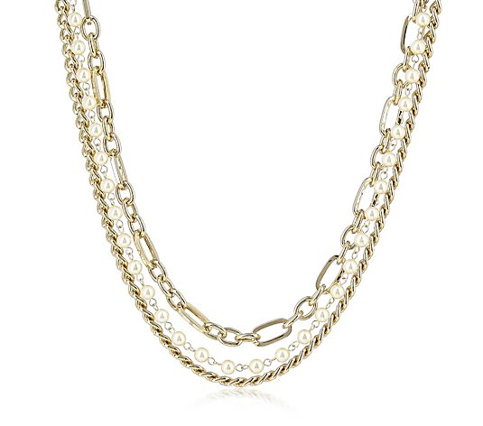 Butler & Wilson Pearl & Chain 2 Row Necklace