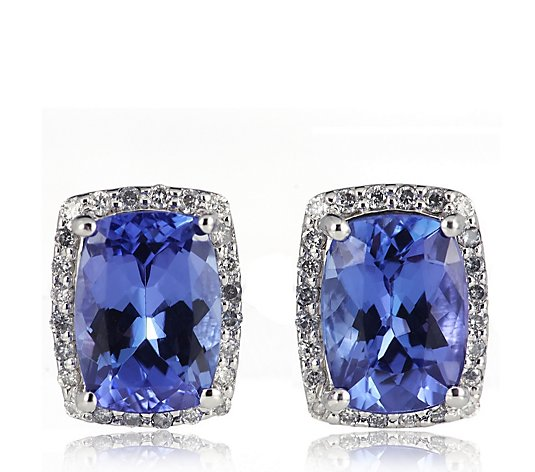 2.00ct AAA Certified Tanzanite & 0.15ct Diamond Earrings 14ct Gold