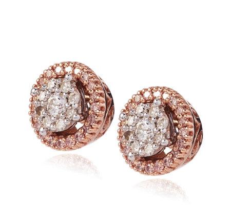 ae857acc0 0.25ct Pink & White Diamond Stud Earrings 9ct Gold - QVC UK