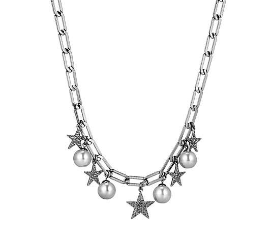Silver Tone Star Faux Pearl Charm Necklace