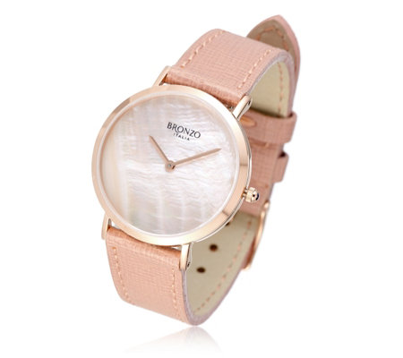 Bronzo Italia Mother of Pearl Leather Strap Watch