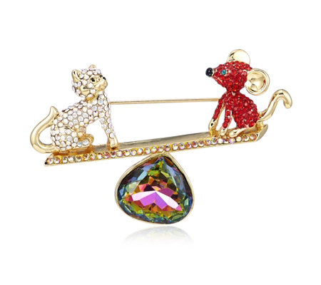 Butler & Wilson Cat and Mouse on a Seesaw Brooch