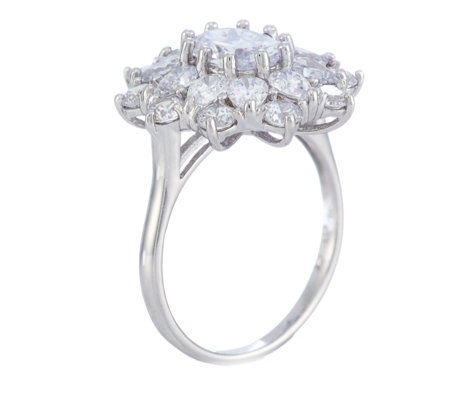 Michelle Mone for Diamonique 4ct tw Flower Cocktail Ring Sterling Silver