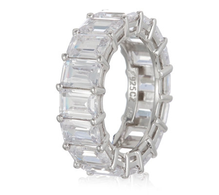 Michelle Mone for Diamonique 8.5ct tw Emerald Cut Band Ring Sterling Silver