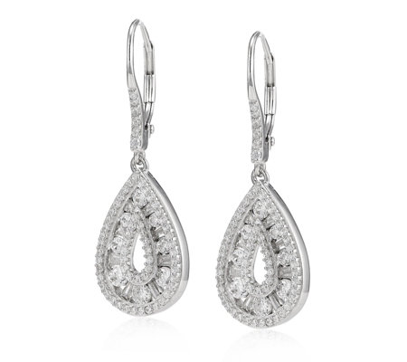 Diamonique 1.4ct tw Mixed Cut Pear Leverback Earrings Sterling Silver