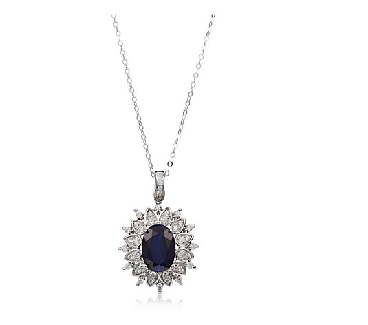 Diamonique by Tova 6.8ct tw Simulated Sapphire Pendant & Chain Sterling Silver