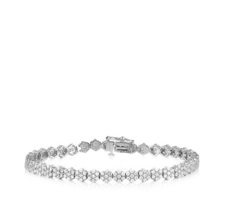 Diamonique 5.71ct tw Flower Tennis Bracelet Sterling Silver