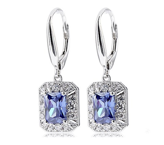 Diamonique 3.5ct tw Vintage Style Leverback Earrings Sterling Silver