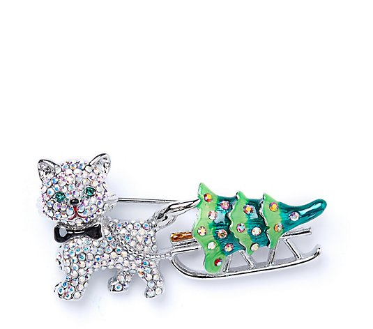 Butler & Wilson Crystal Christmas Cat Brooch
