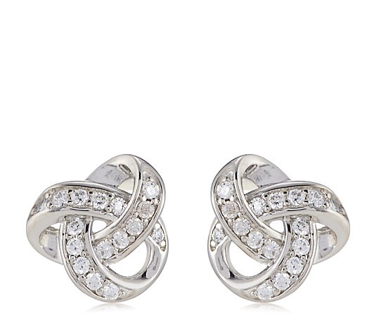 Diamonique 0.3ct tw Platinum Plated Knot Stud Earrings Sterling Silver